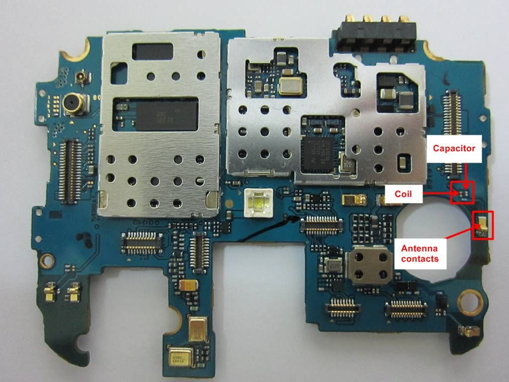 S4 Wifi and Antenna contacts capacitor and coil   Wifi for Minime in