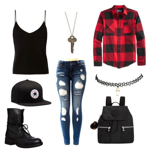 """casual"" by derpybabyguppy ❤ liked on Polyvore featuring T By Alexander Wang, American Rag Cie, The Giving Keys, Converse, Wet Seal, Steve Madden and Kipling"