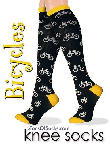 Bicycles Yellow Knee Socks   by tonsofsocks