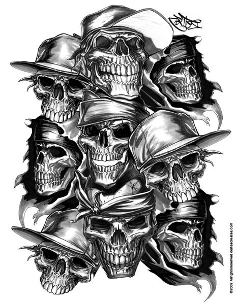 pile of thug skulls by cortesnyc horror phreek skulls pinterest drawings. Black Bedroom Furniture Sets. Home Design Ideas