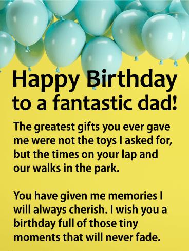 To A Fantastic Dad Happy Birthday Balloon Card Birthday Greeting Cards By Davia Dad Birthday Card Birthday Message To Dad Happy Birthday Dad From Daughter