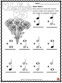 Music Worksheets with a Valentine's Day theme! ♫ CLICK