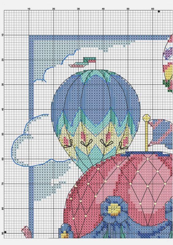 Схема для вышивки крестиком яркой картины с воздушными ...