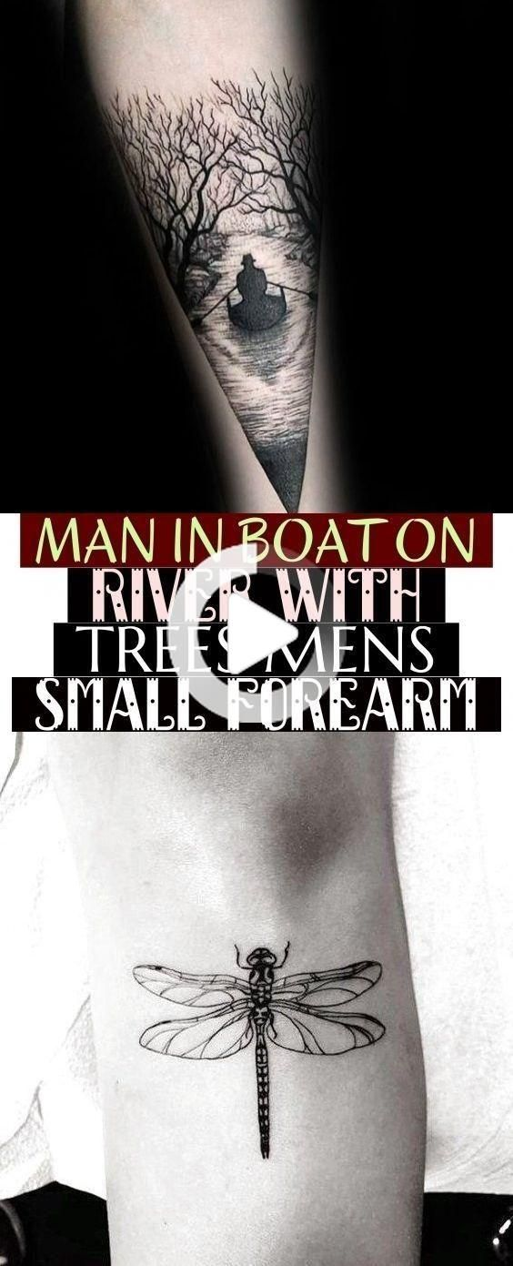 Man In Boat On River With Trees Mens Small Forearm tattoos mann im boo