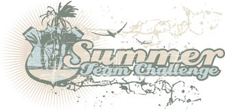 Text summer team challenge and beach graphic image to stamp on t-shirts.