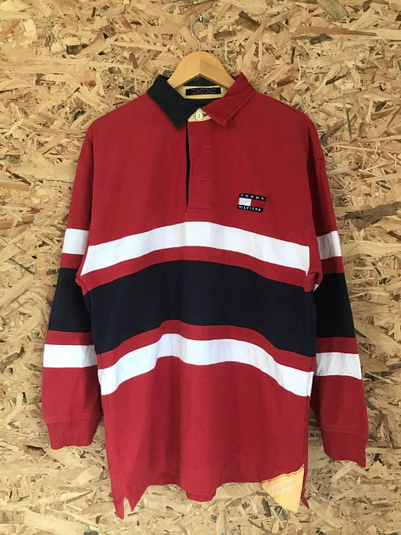 884d702b TOMMY HILFIGER Stripe Sailing Gear Spellout Rugby Vintage Polo ...