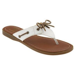 White Sperry saybrook flip flops.
