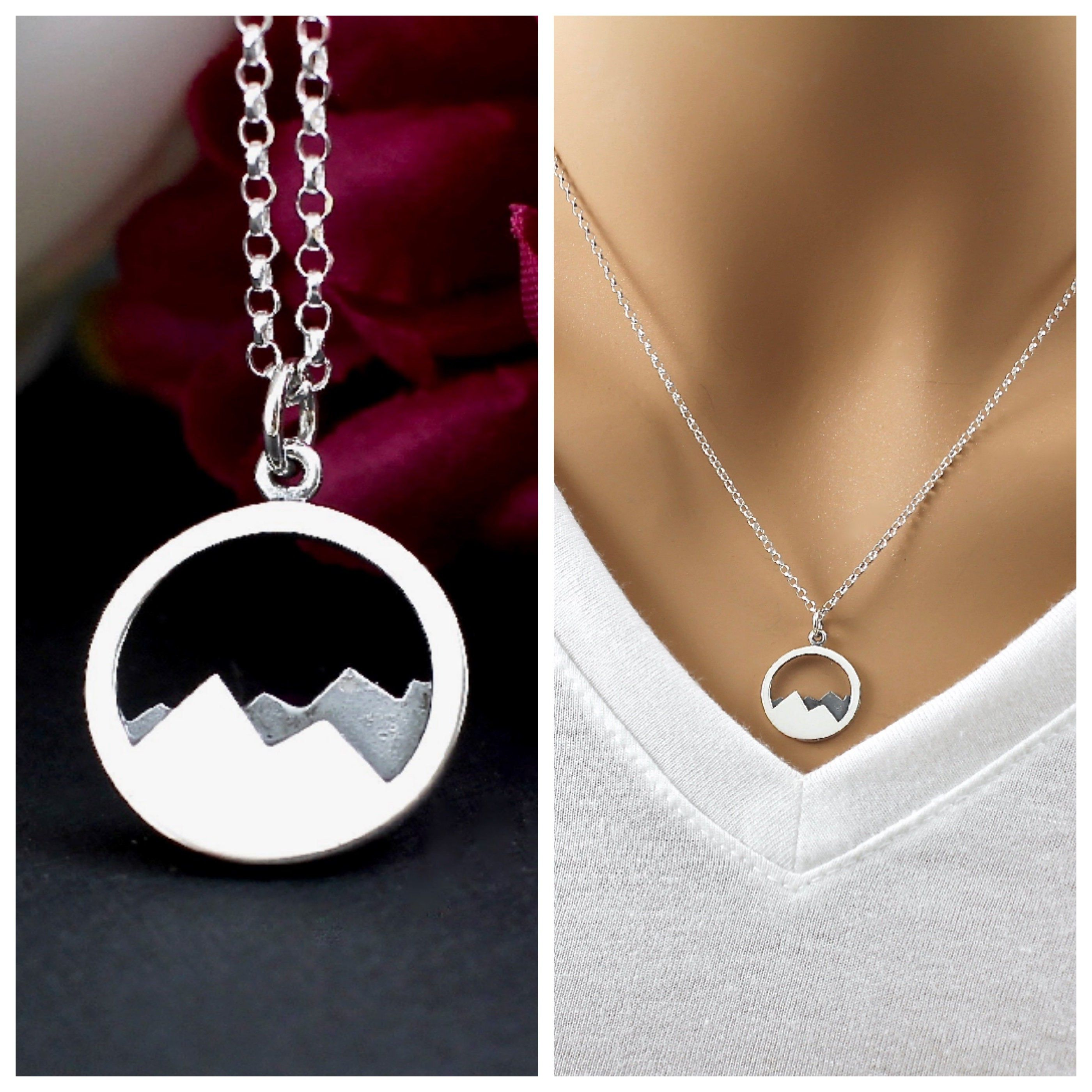 c3276695ff806 Mountain Necklace Sterling Silver - Mountain Range Necklace - The ...
