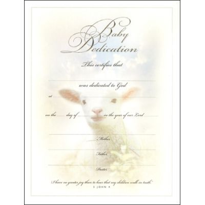 bdc baby dedication certificate Church nursery Pinterest