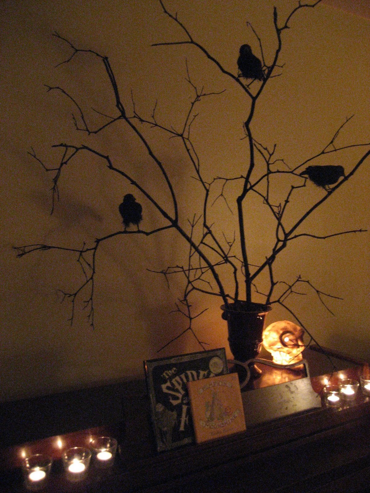 Spray paint branches black - easy and cheap Halloween centerpiece ...