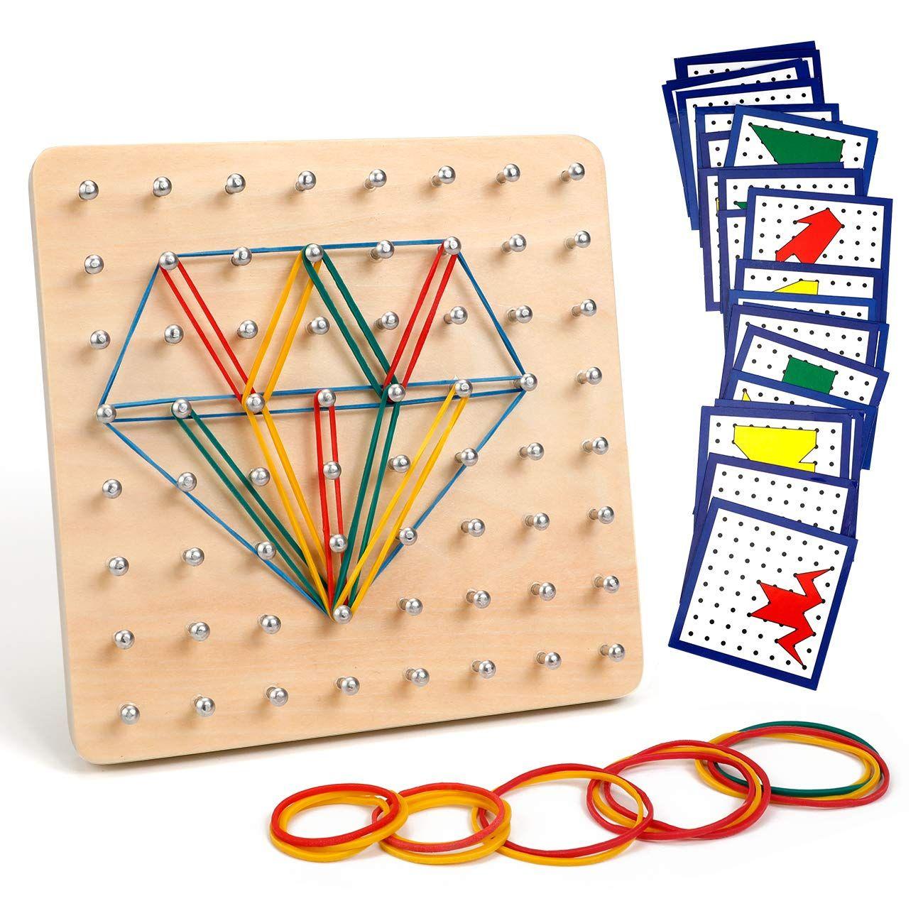 HUYIYI Holz Geoboard Set Geometriebrett Montessori Holz Spielzeug f/ür Kinder und Erwachsene,Form Puzzle lernspielzeug,Inspirieren die Phantasie und Kreativit/ät des Kinders