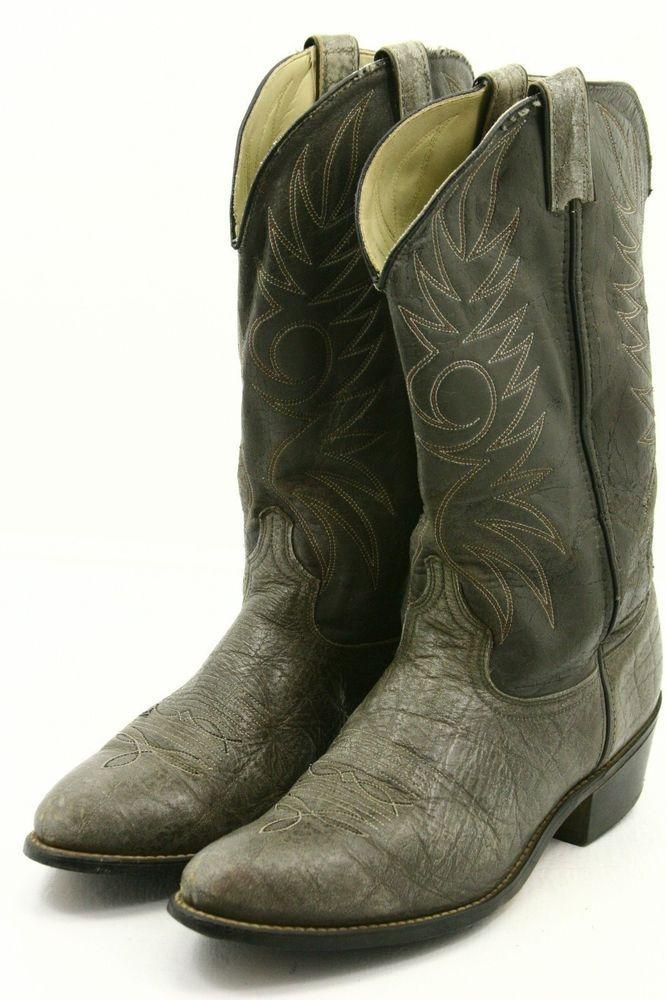 f8445221983 Acme Mens Cowboy Boots Size 12 D gray faux elephant Vintage Western ...