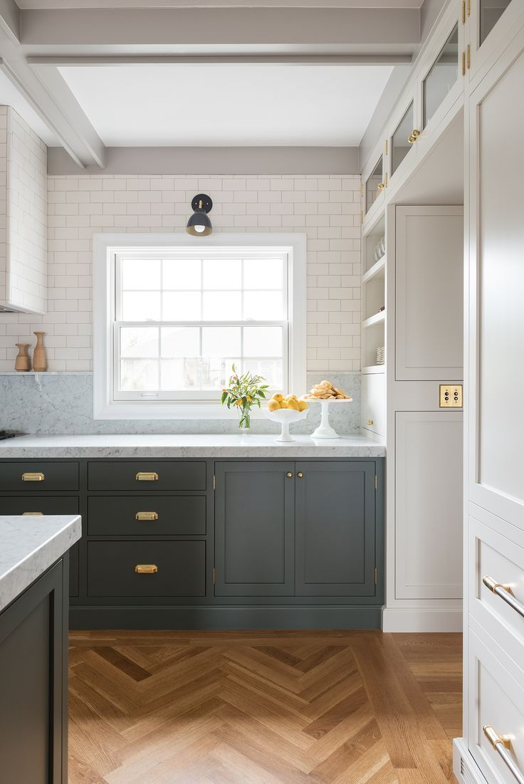 Kitchen Flush Mount Doors Grey Lower Cabinetry White Upper Cabinets Wrap Around Marble Countertop Subway Tile Wall Backsplash Custom Open Shelving