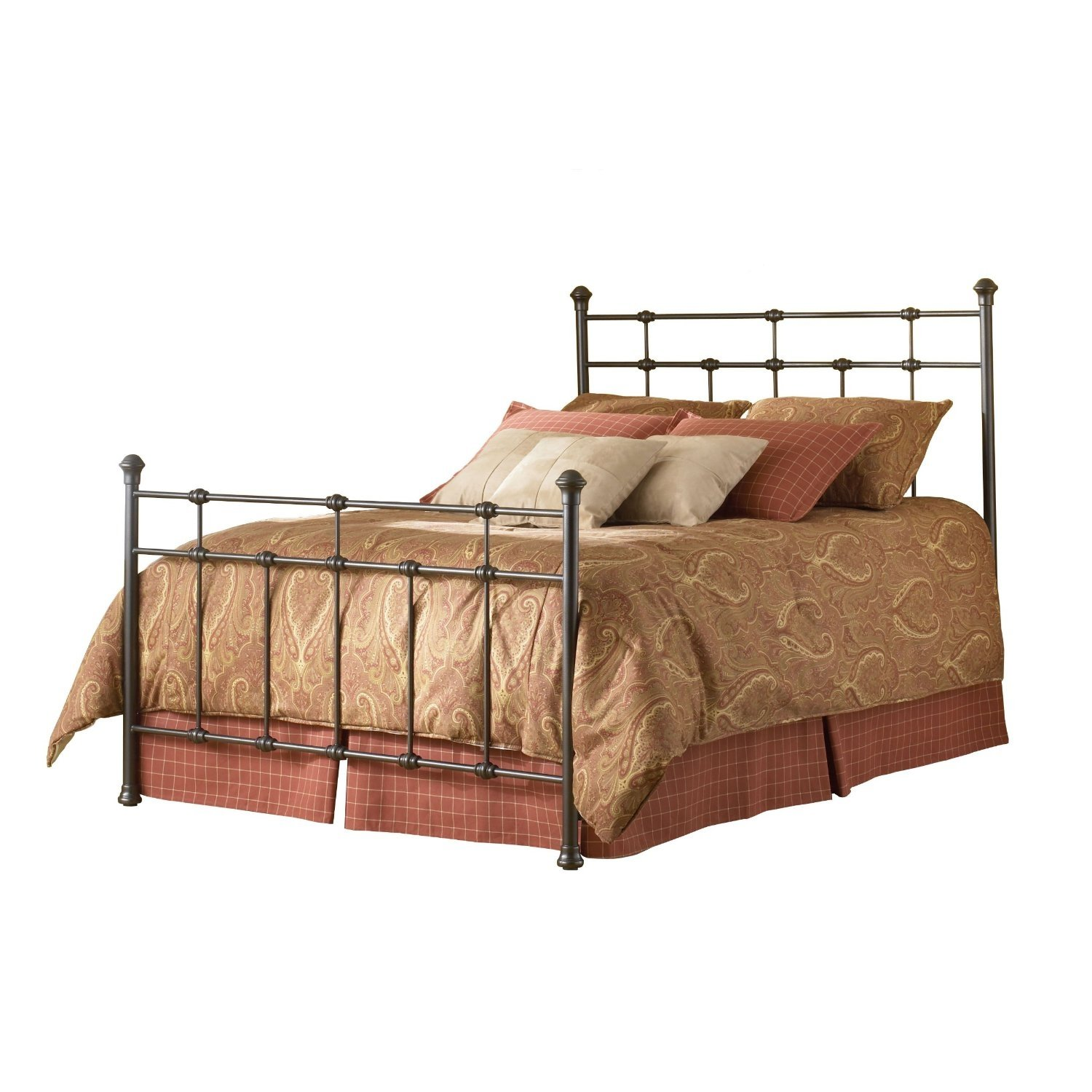 King Size Metal Bed With Headboard And Footboard In Hammered Brown Finish In 2021 Bed Styling Headboards For Beds Metal Beds