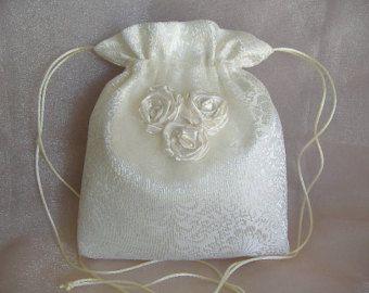 Wedding Bridal Drawstring Bag Hand Beaded Heirloom Ooak