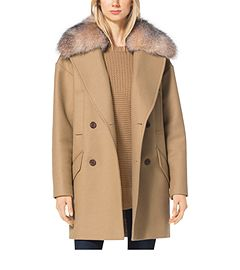 Fur-Trimmed Wool-Melton Coat by Michael Kors