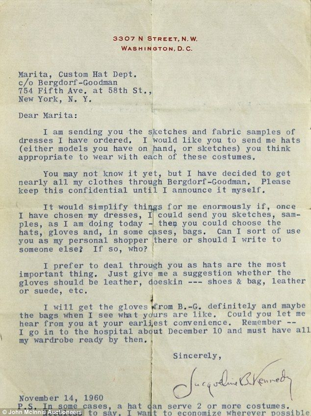 Letters From Jackie Kennedy To Her Personal Shopper Go Up For