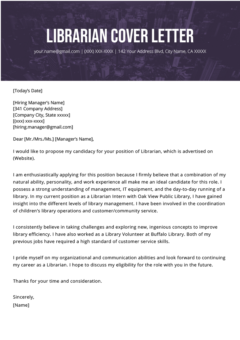 Librarian Cover Letter Example Cover letter example