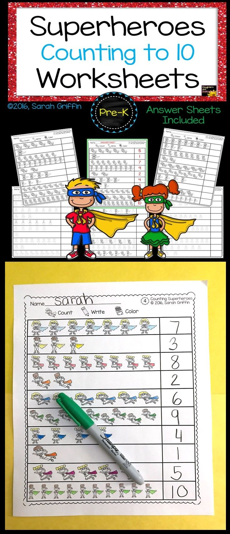 Math Worksheets | Numbers to 10 | Count, Write, Color | Superheroes ...