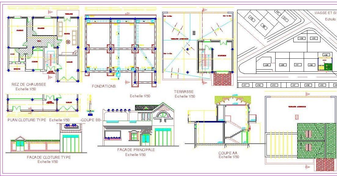Plan Autocad DUne Petite Villa Dwg  Autocad Villas And Architecture