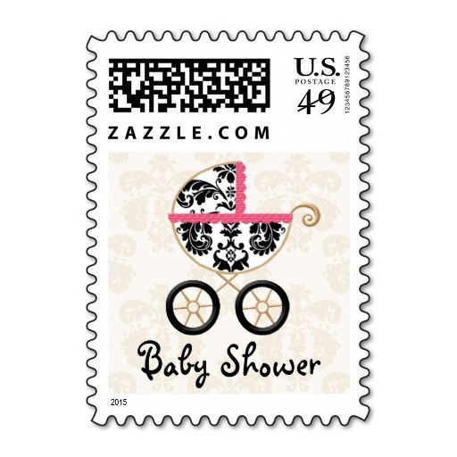 HOT PINK and Black Damask Carriage Baby Shower Postage Stamps