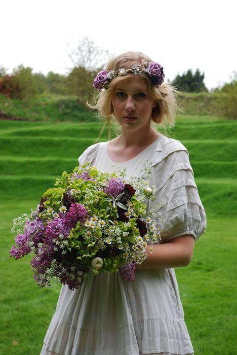 bridal bouquet and floral crown