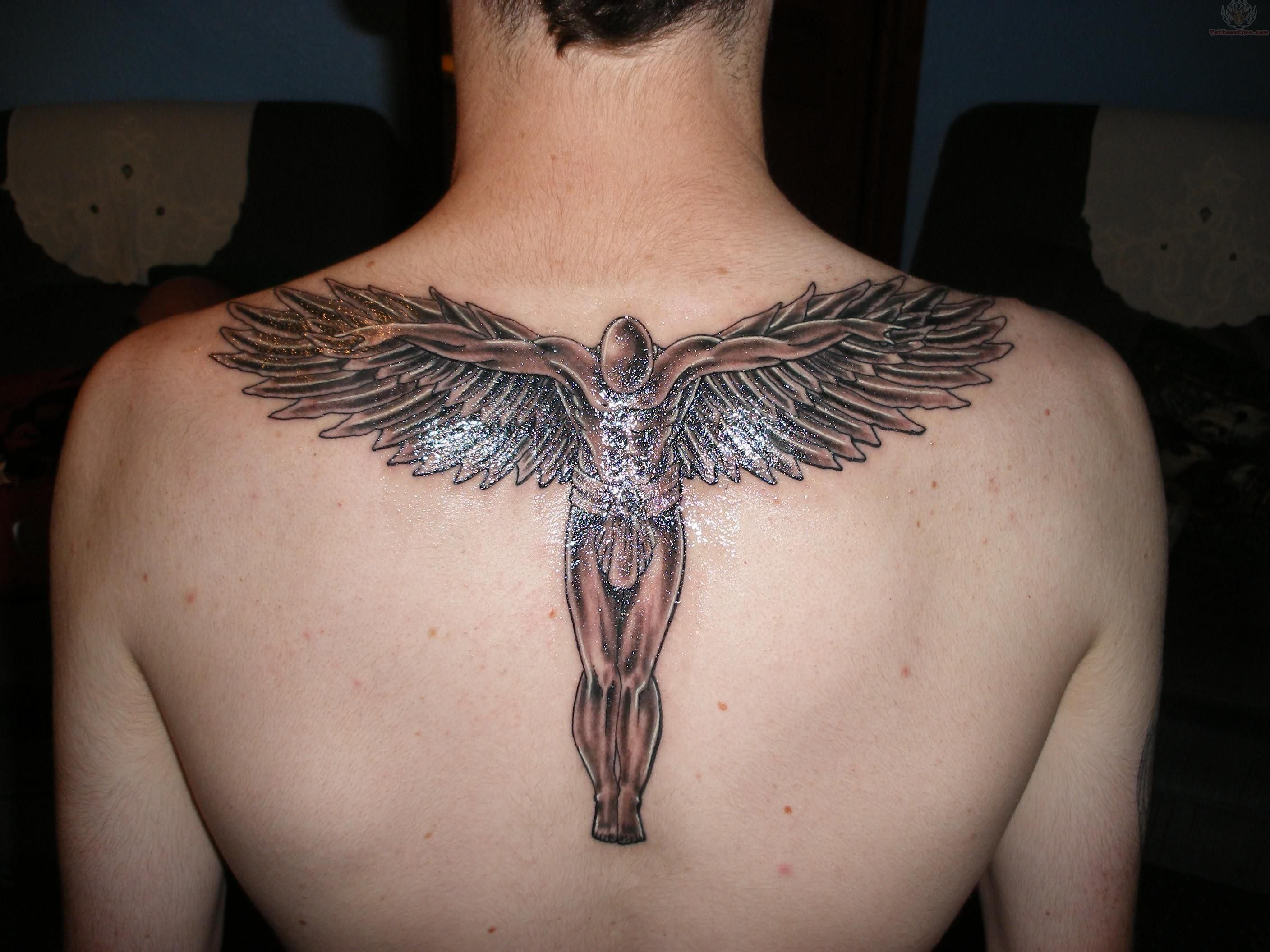 back male angel tattoo design for men. Black Bedroom Furniture Sets. Home Design Ideas