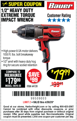 Bauer 1 2 In Heavy Duty Extreme Torque Impact Wrench For 79 99 In 2020 Impact Wrench Harbor Freight Tools Heavy Duty
