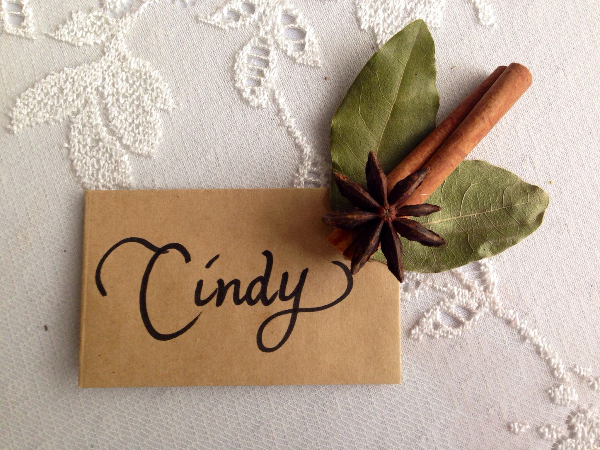 Thanksgiving place cards Two bay leaves one
