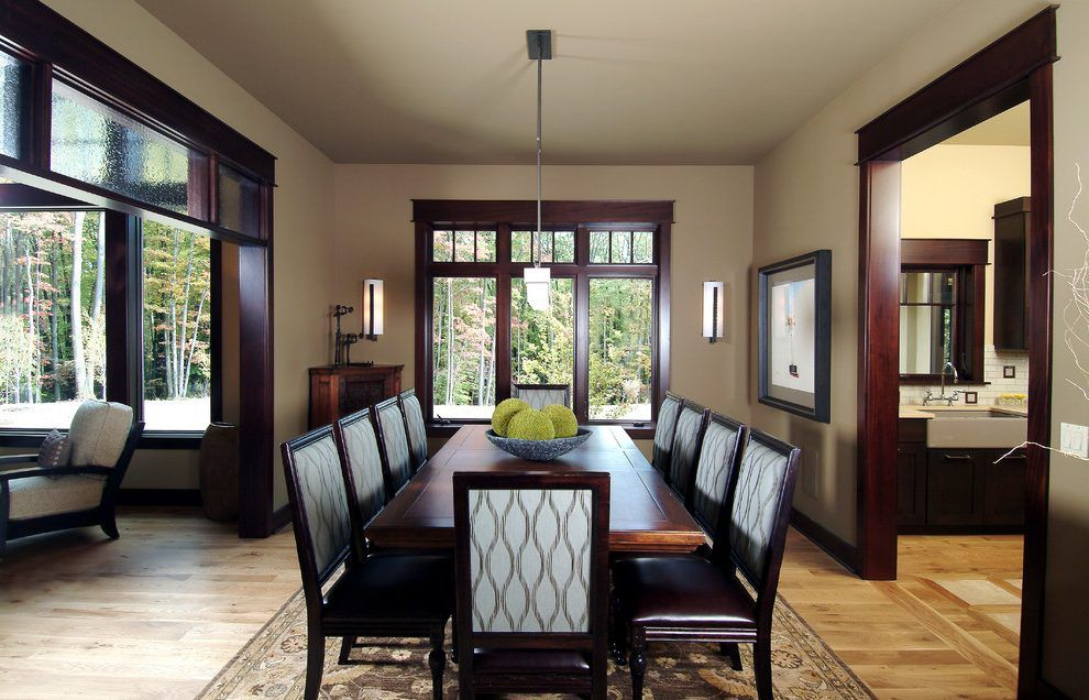 Light Walls Dark Trim Dining Room Traditional With Dining