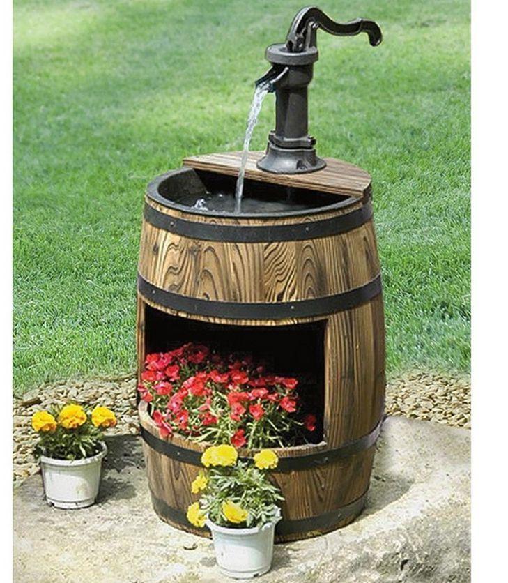 Wine barrel fountain whiskeybarrelgardenfountainplanterwine mizuno wave paradox 2 women d round toe synthetic gray running shoe barrel fountaingarden ideasbackyard workwithnaturefo