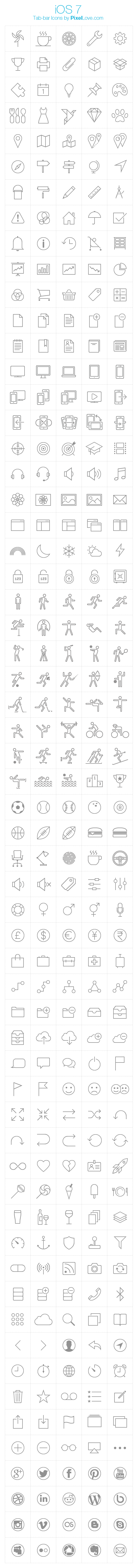300 Ios 7 Tab Bar Icon Pack For Iphone And Ipad Apps By