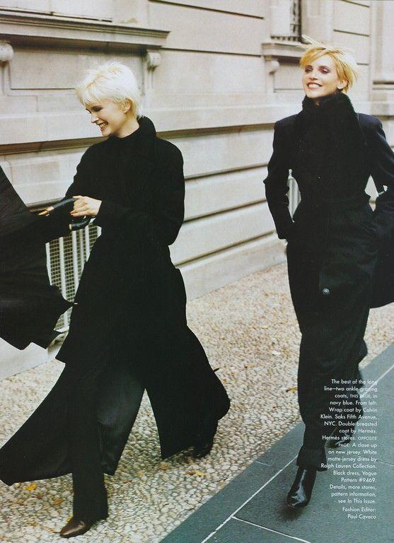 """It's A Long Story"" Vogue November 1996. Kylie Bax, Nadja Auermann. Photo: Mario Testino"