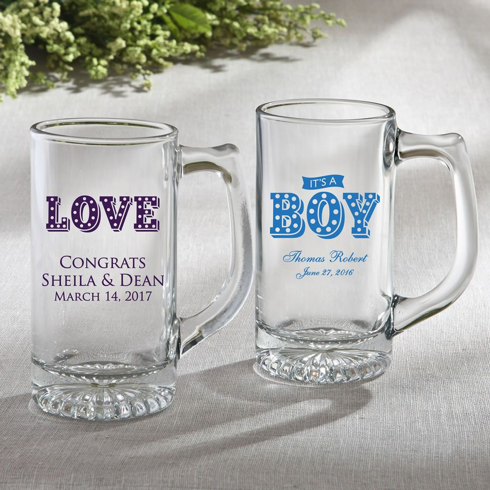 Personalized Glass Beer Mug 12.25 Oz - Marquee Design | Favors and ...