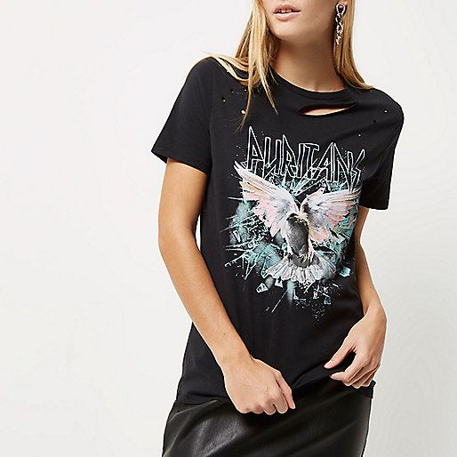 a28ca31c Black rock band distressed T-shirt - print t-shirts / vests - t shirts /  vests - tops - women