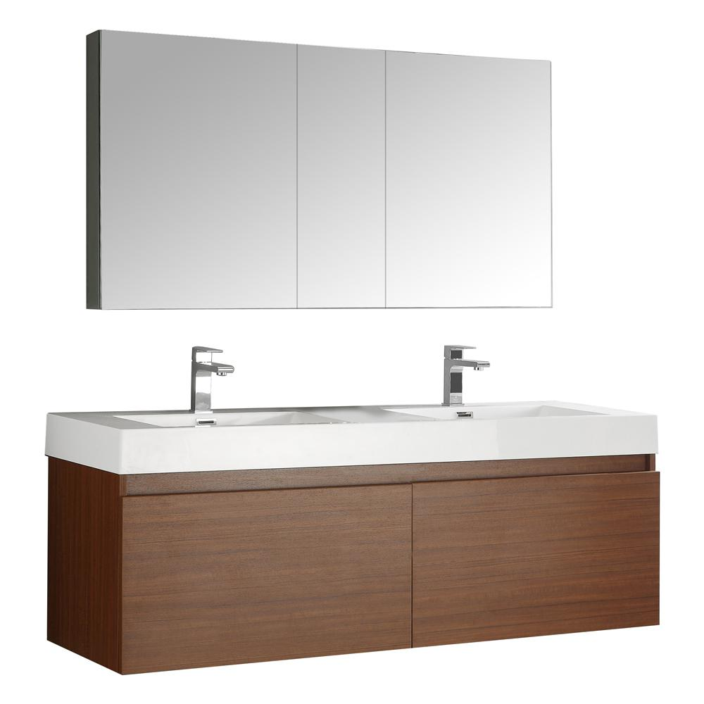 Fresca Mezzo 59 in. Vanity in Teak with Acrylic Vanity Top in White with White Basin and Mirrored Medicine Cabinet-FVN8042TK - The Home Depot