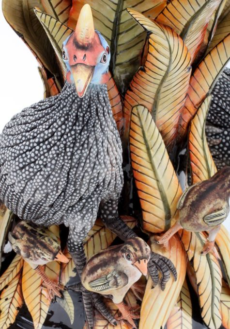 To Mother Hens everywhere, we wish you a peaceful and relaxing Mother's Day this Sunday. We hope you can find five minutes for yourself inbetween looking after your precious brood! This Guinea Fowl, tending to her chicks, was created by Ardmore's very own mother hen, Betty Ntshingila.