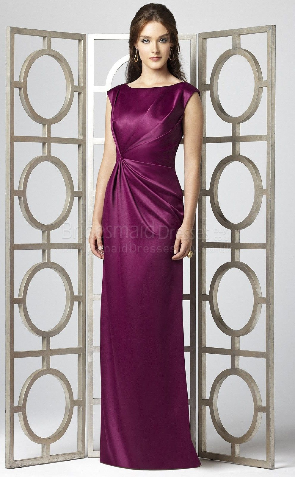 Sheath/Column Short Sleeve Scoop Fuchsia Stretch Satin Floor-length ...