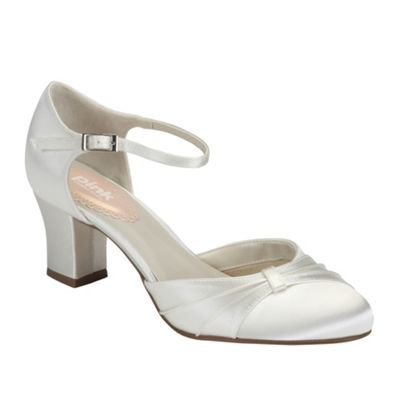 Pink by Paradox London Ivory satin maple mid heel shoe at