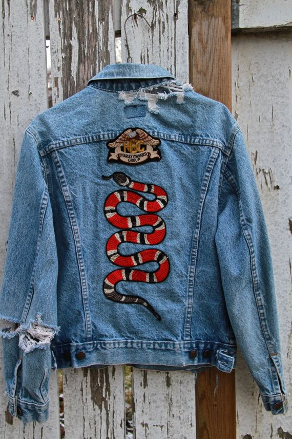 198399477 Vintage Distressed Wrangler Denim Gucci-esque Harley Davidson Patch Jacket