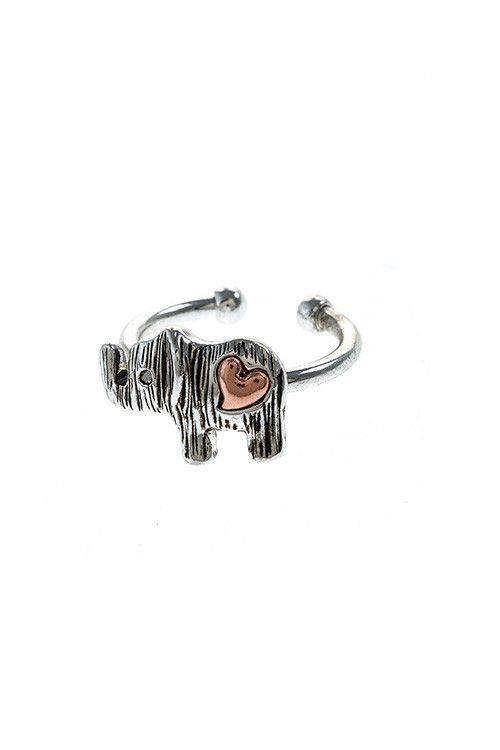 {Accent Heart Elephant Cuff Ring}
