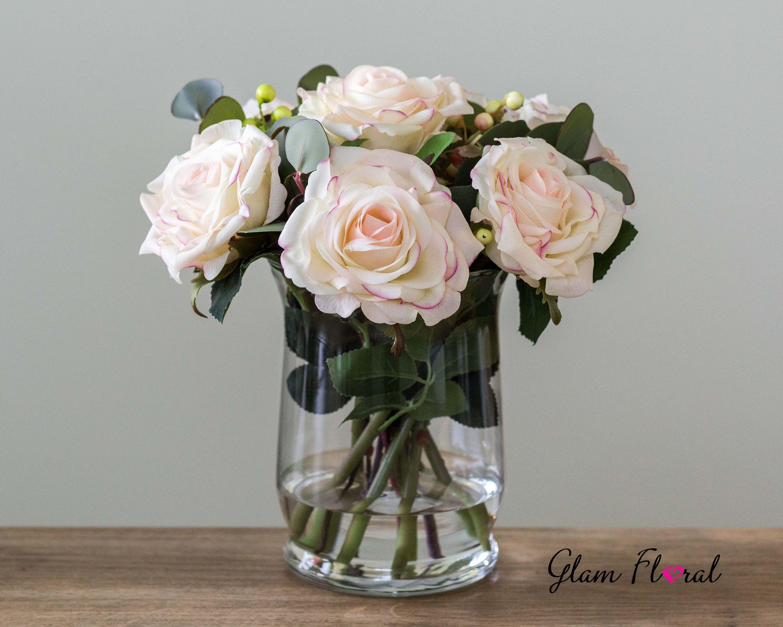 Real Touch Rose Flower Arrangement Blush Pink Roses In Faux Rose Flower Arrangements Flower Arrangements Centrepiece Bouquet