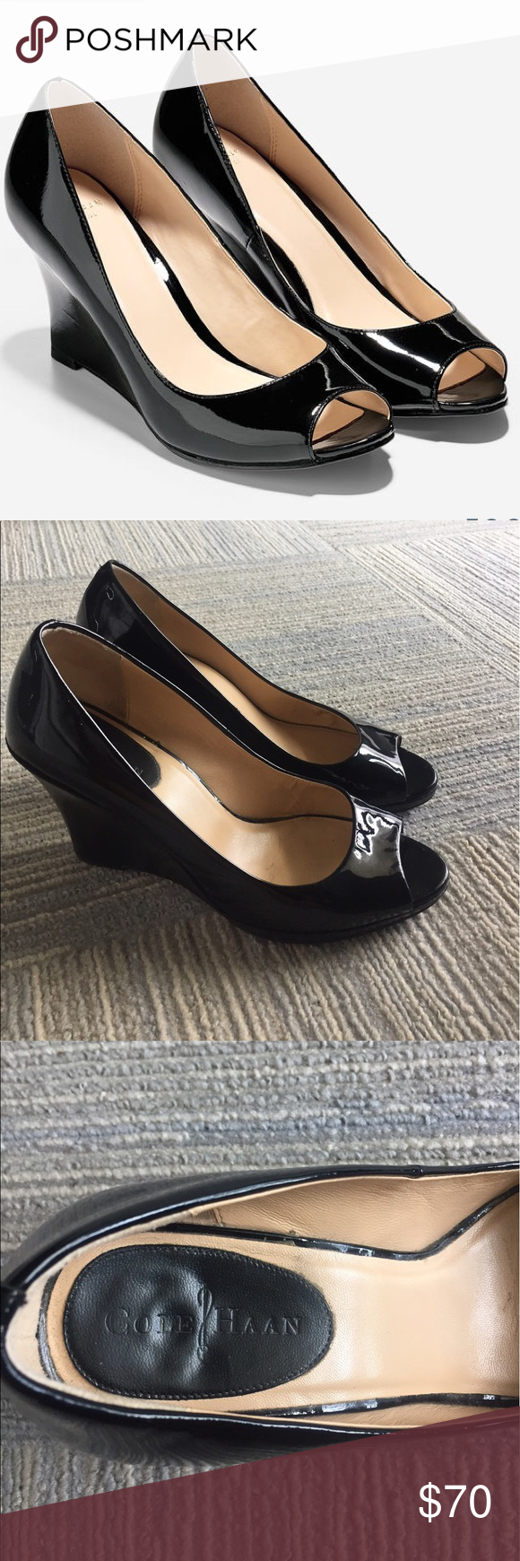Cole Haan Patent Leather Peep Toe Wedge Pumps
