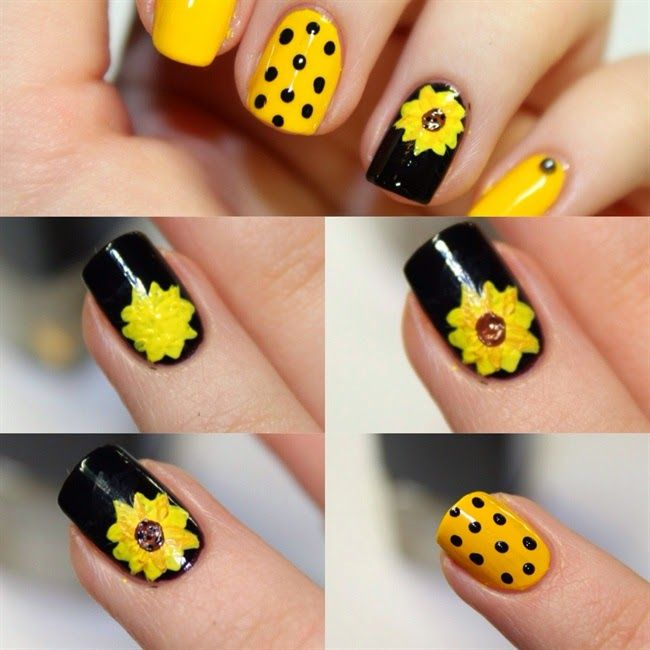 Sun Flower Nail Art Design Step By Step - Fashion Trends - Sun Flower Nail Art Design Step By Step - Fashion Trends