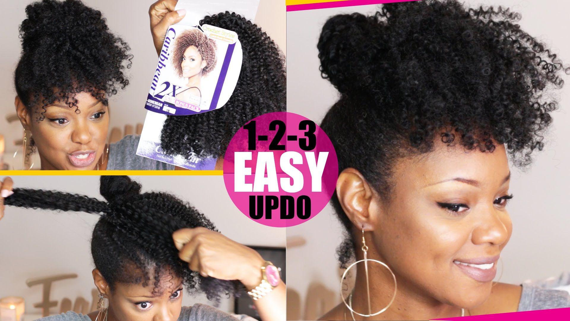 crochet braid (no braid) curly updo natural hair tutorial