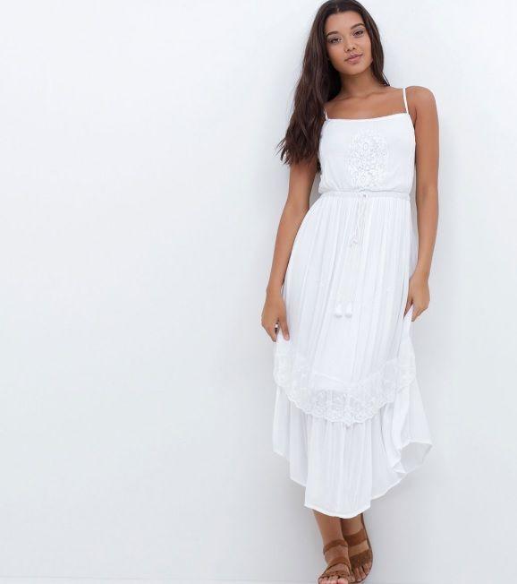 98c17f185 Vestido branco com bordado - Renner 2016 | Renner Moda | Vestido ...