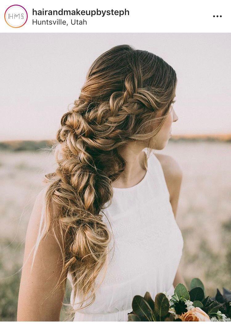 Side braid hair bride bridal wedding braid updo ideas prom