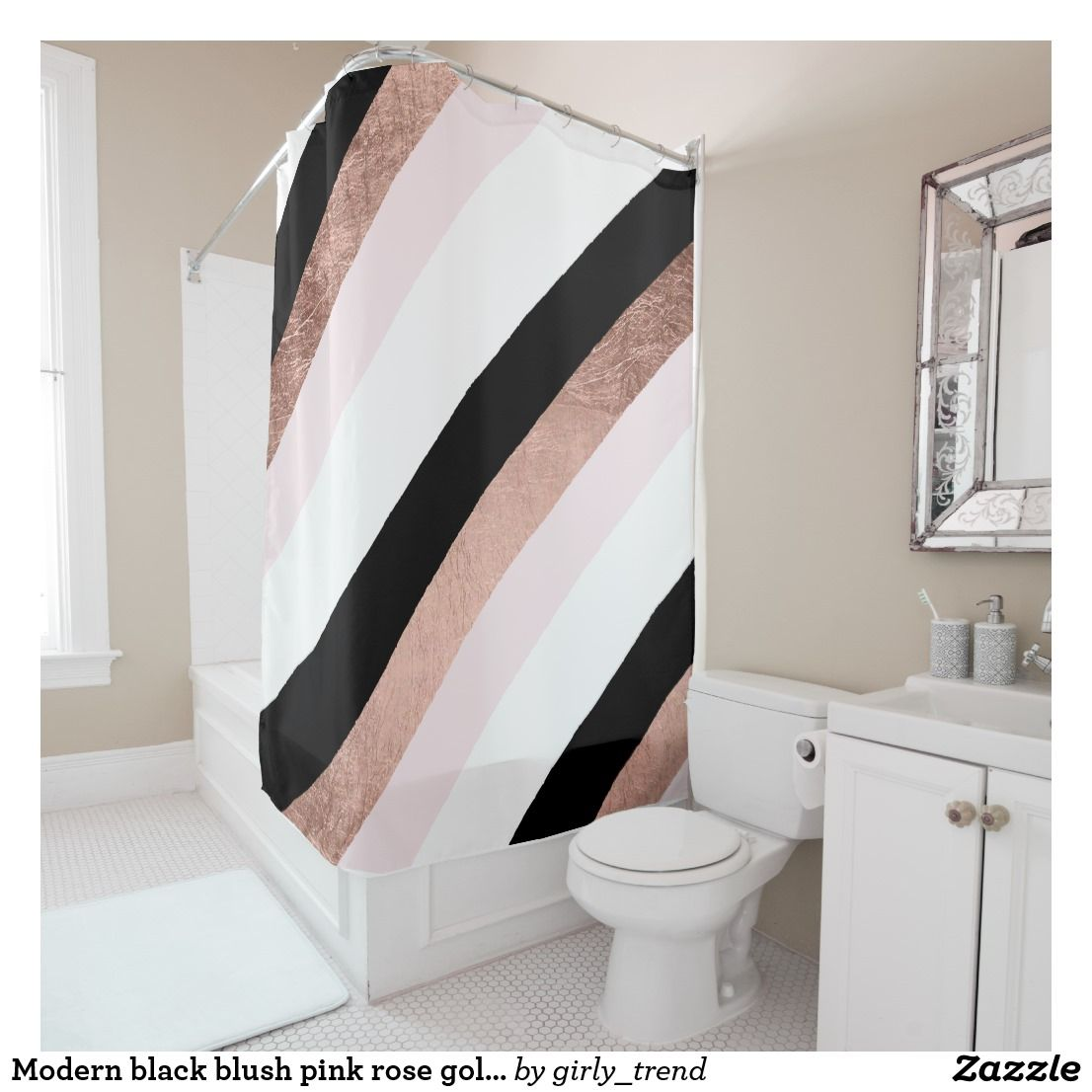 Modern Black Blush Pink Rose Gold Geometric Stripe Shower Curtain