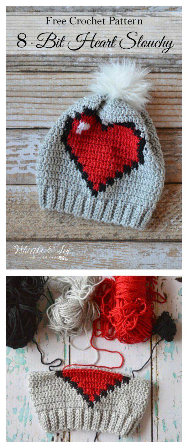 Crochet 8-Bit Heart Slouchy Free Pattern | gorros | Pinterest ...