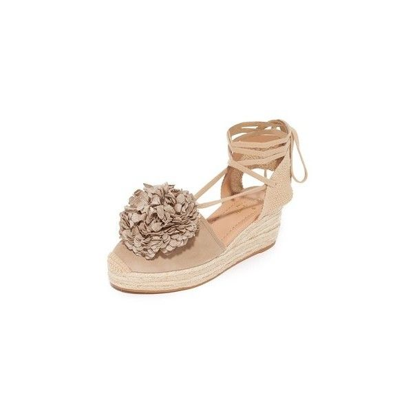 Kate Spade New York Lafayette Espadrille Sandals ($130) ❤ liked on Polyvore featuring shoes, sandals, sand, platform espadrilles, woven wedge sandals, leather lace up sandals, wedge sandals and leather sandals